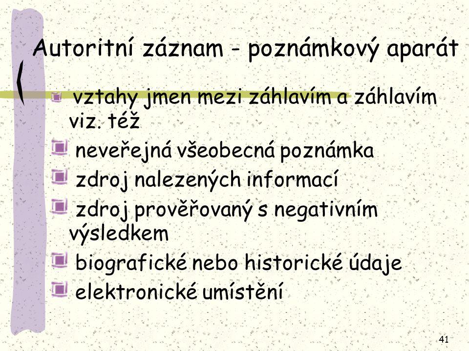 Autoritní záznam - poznámkový aparát