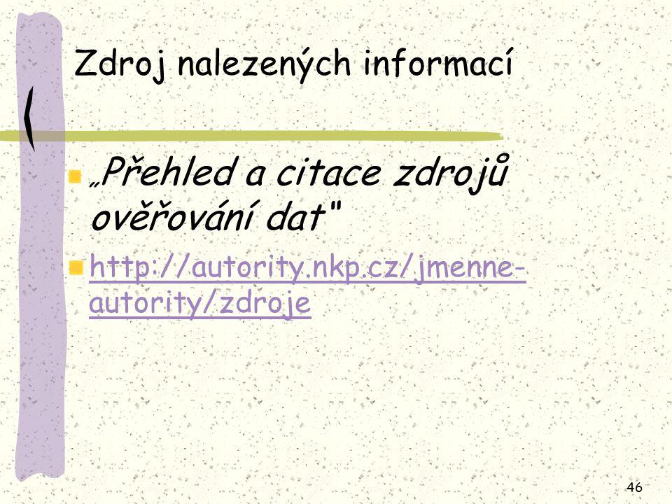 Zdroj nalezených informací