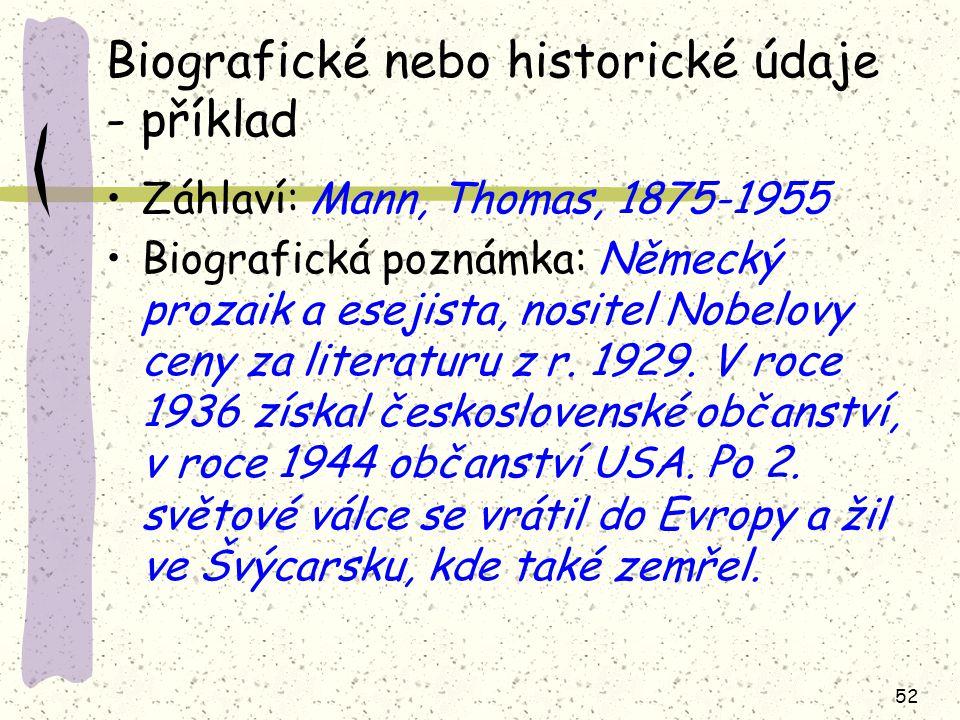 Biografické nebo historické údaje - příklad