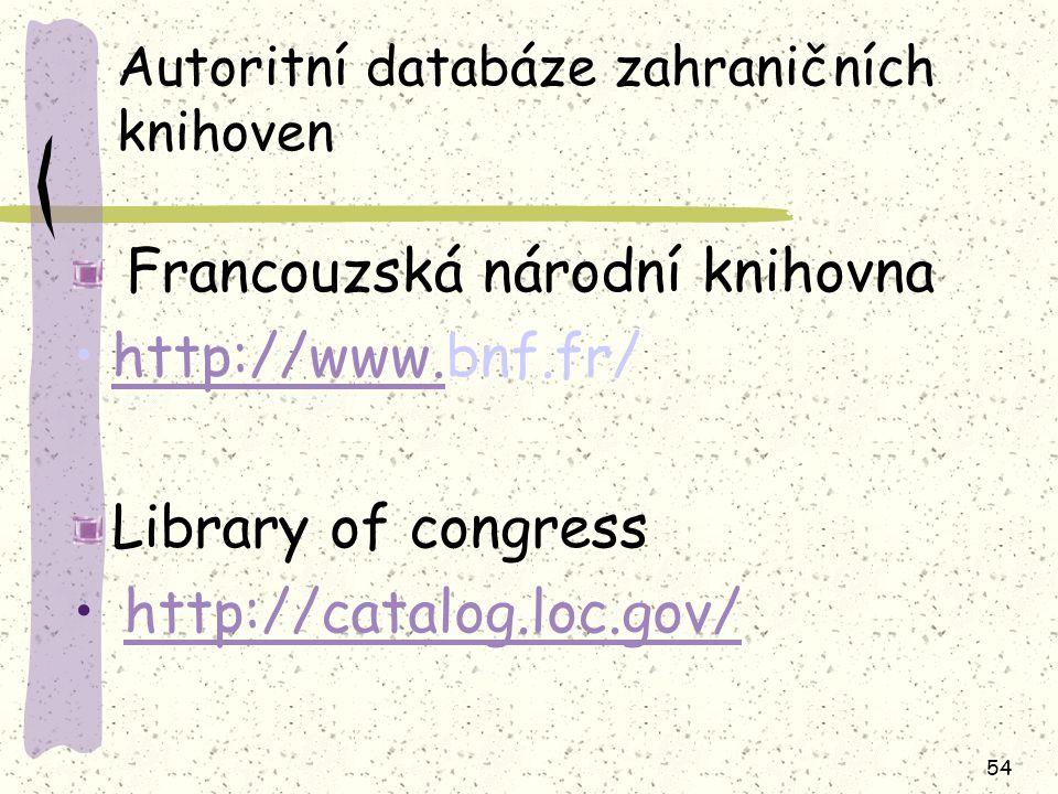 Autoritní databáze zahraničních knihoven