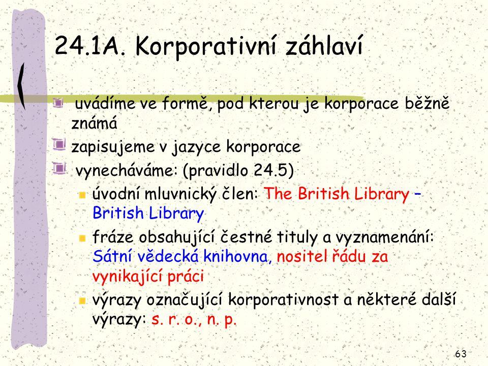 24.1A. Korporativní záhlaví