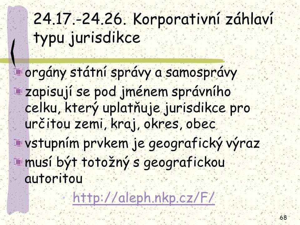 24.17.-24.26. Korporativní záhlaví typu jurisdikce