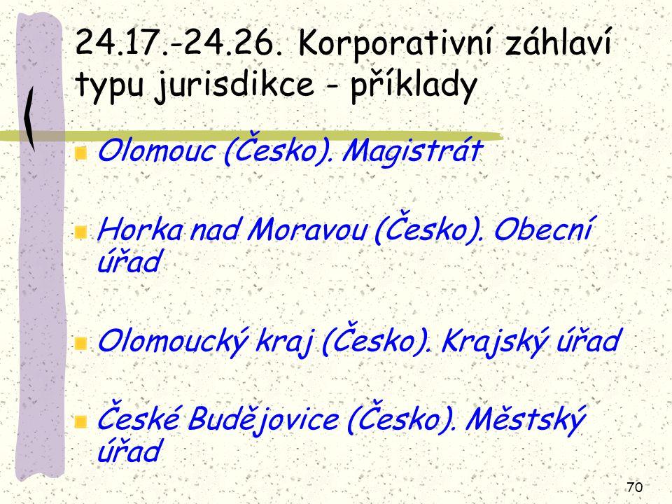 24.17.-24.26. Korporativní záhlaví typu jurisdikce - příklady