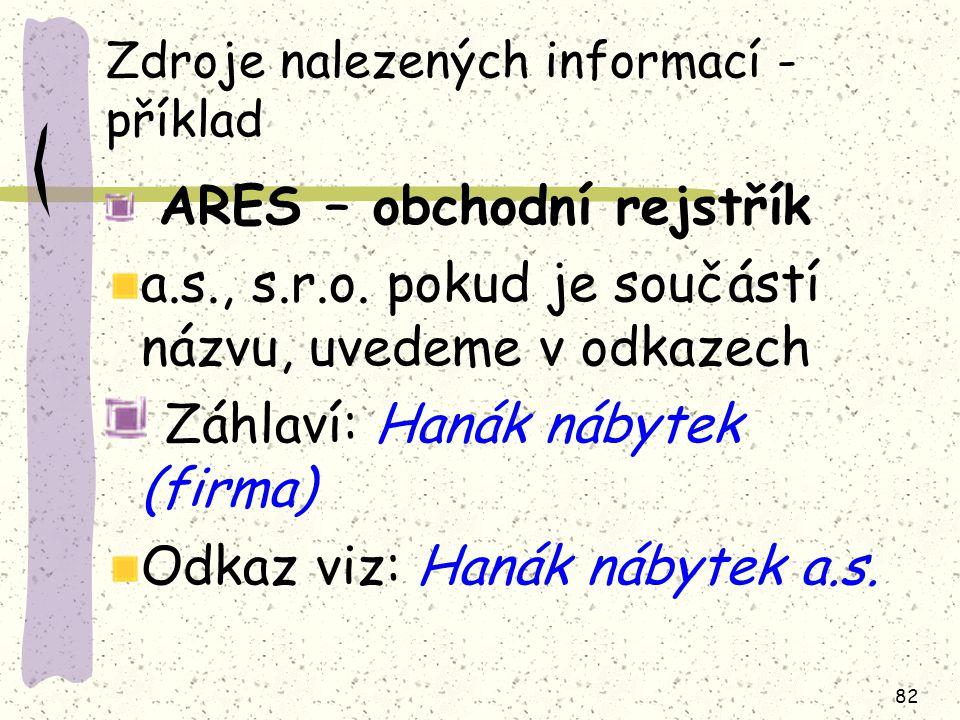 Zdroje nalezených informací - příklad