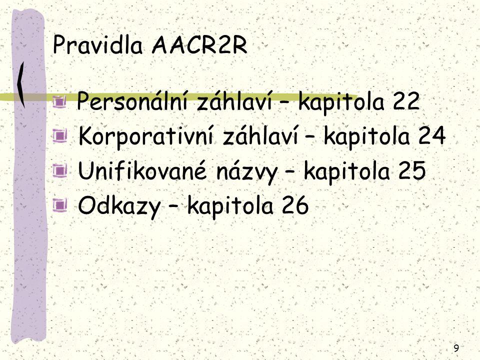 Pravidla AACR2R Korporativní záhlaví – kapitola 24