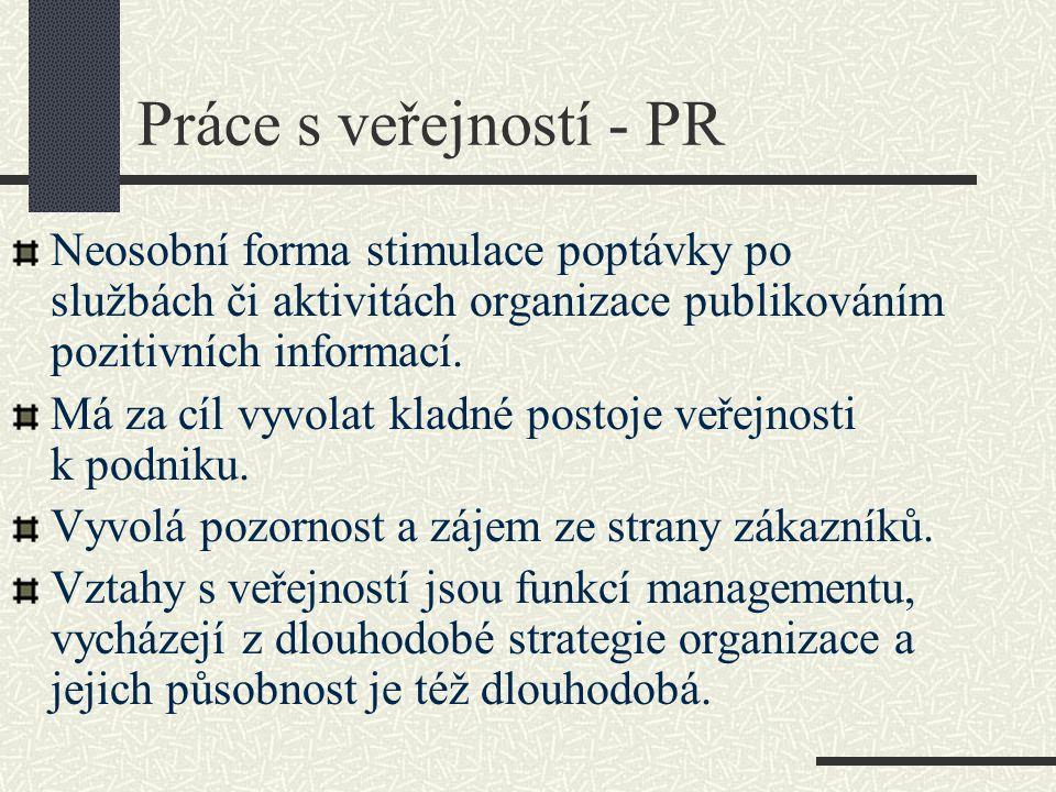 Práce s veřejností - PR Neosobní forma stimulace poptávky po službách či aktivitách organizace publikováním pozitivních informací.