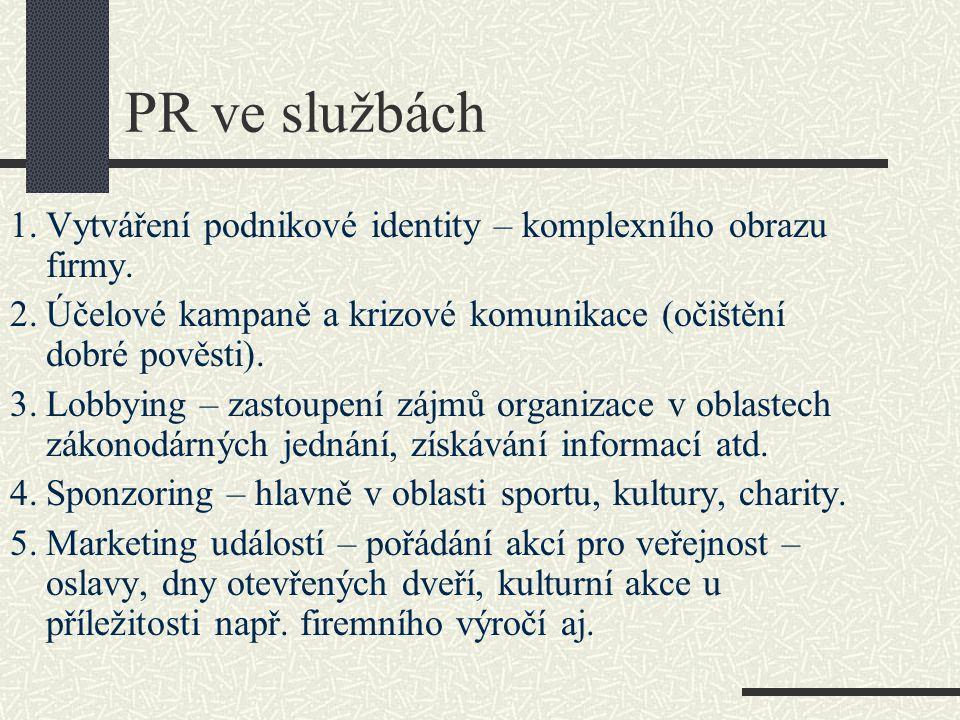 PR ve službách 1. Vytváření podnikové identity – komplexního obrazu firmy. 2. Účelové kampaně a krizové komunikace (očištění dobré pověsti).