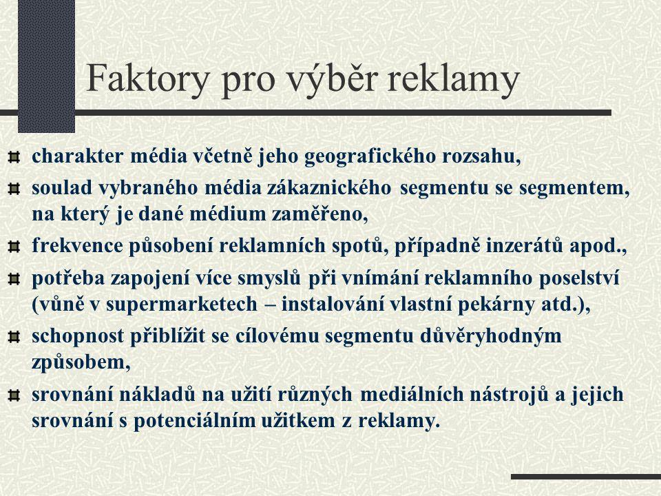 Faktory pro výběr reklamy