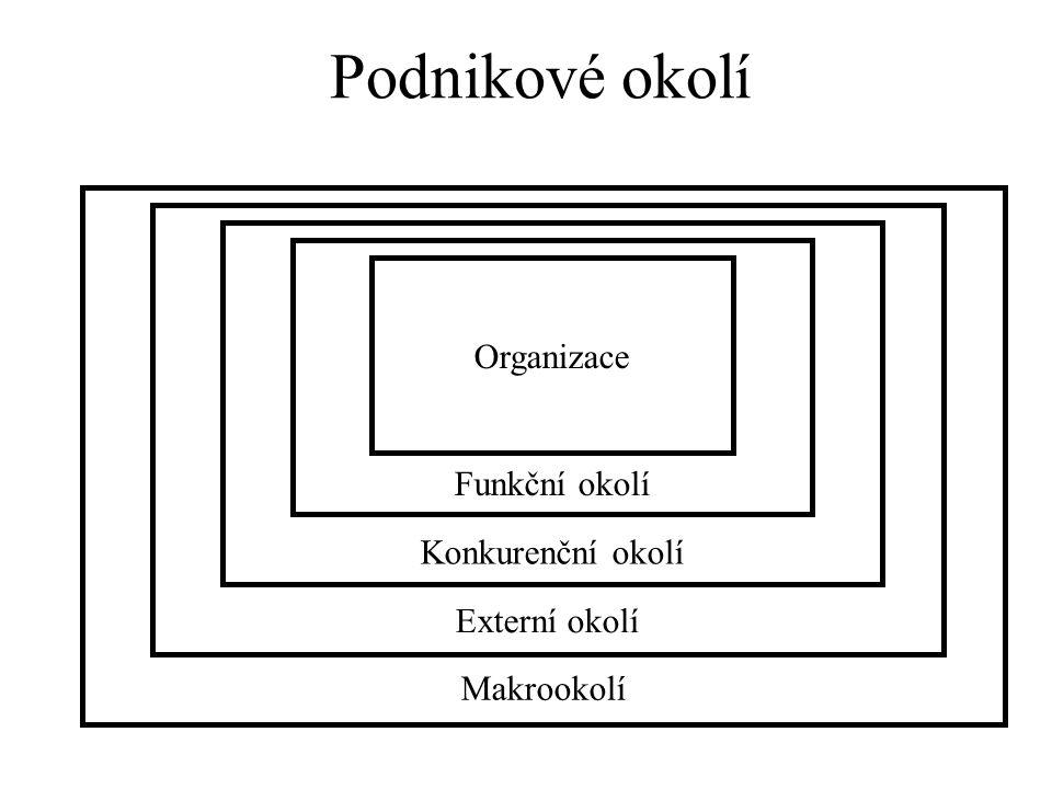 Podnikové okolí Organizace Funkční okolí Konkurenční okolí