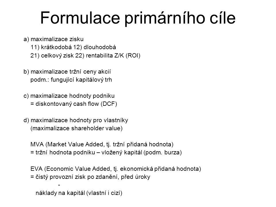 Formulace primárního cíle
