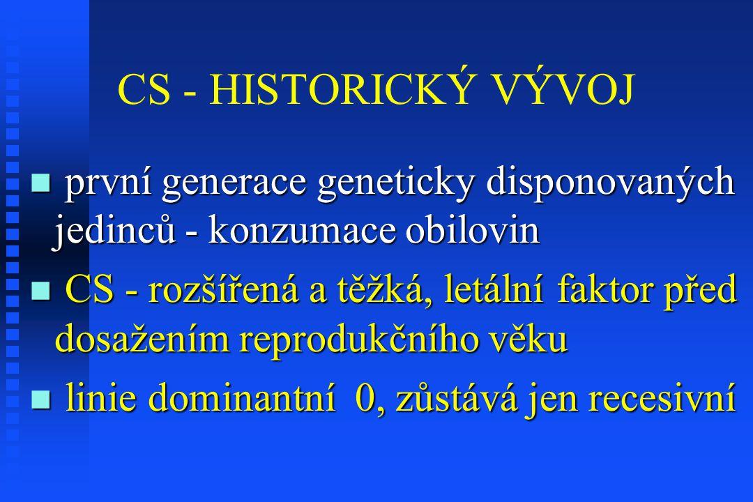 CS - HISTORICKÝ VÝVOJ první generace geneticky disponovaných jedinců - konzumace obilovin.