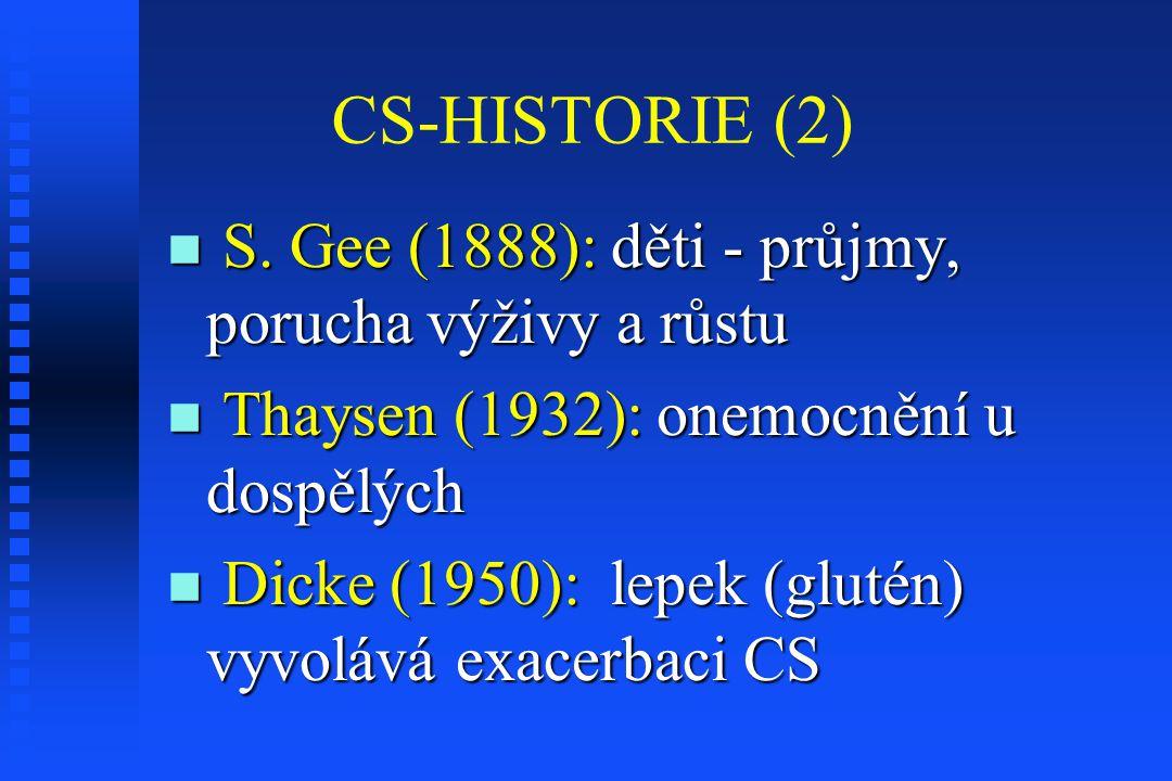 CS-HISTORIE (2) S. Gee (1888): děti - průjmy, porucha výživy a růstu