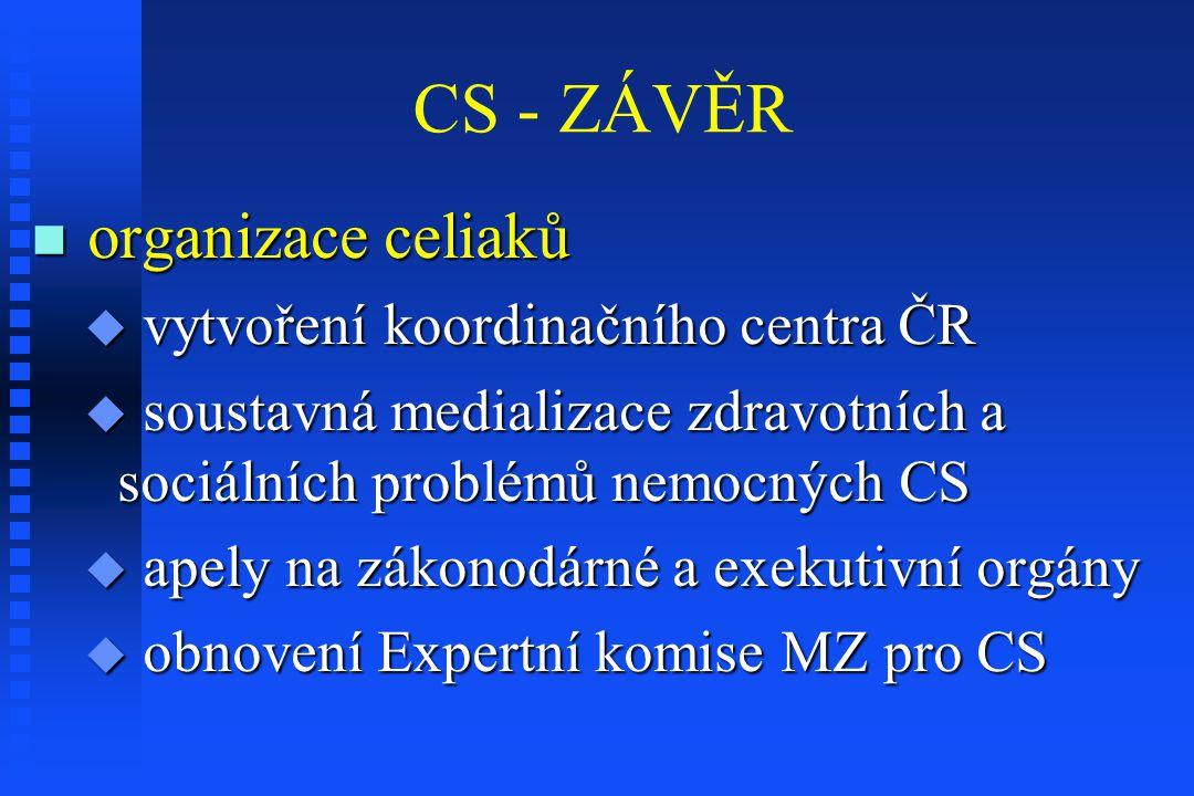 CS - ZÁVĚR organizace celiaků vytvoření koordinačního centra ČR