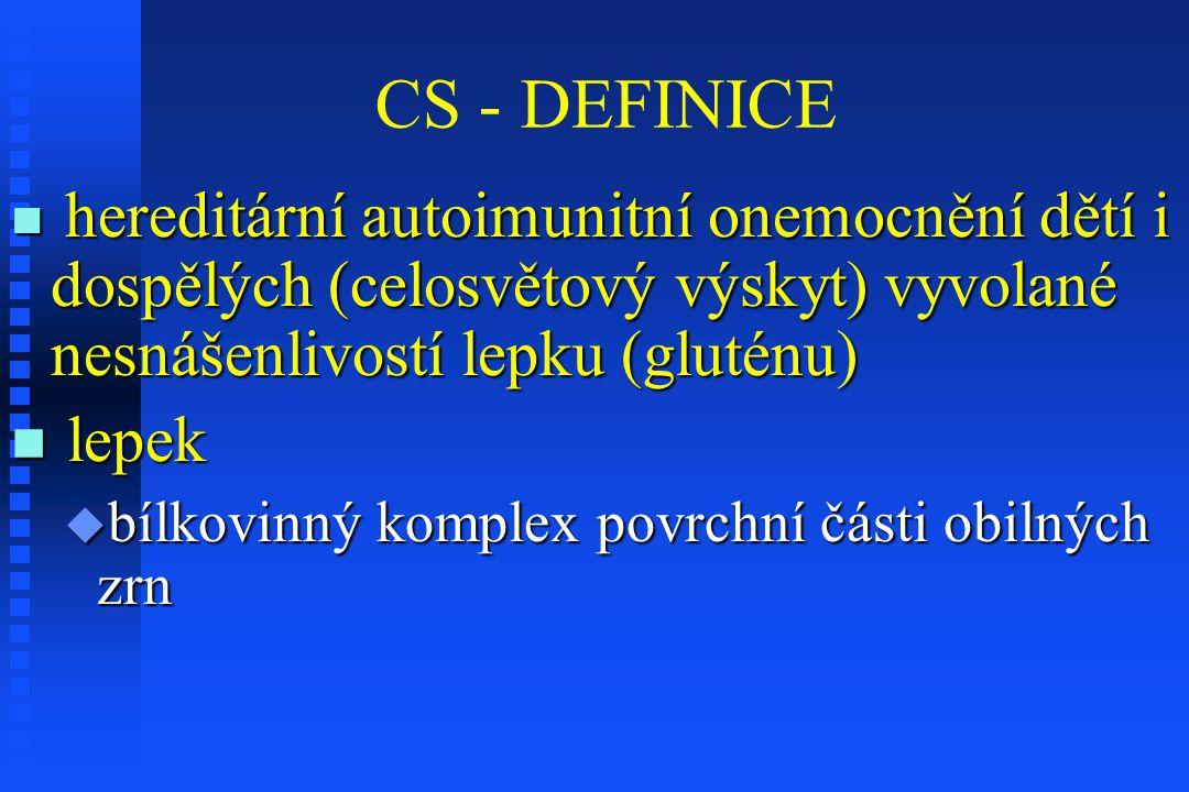 CS - DEFINICE hereditární autoimunitní onemocnění dětí i dospělých (celosvětový výskyt) vyvolané nesnášenlivostí lepku (gluténu)