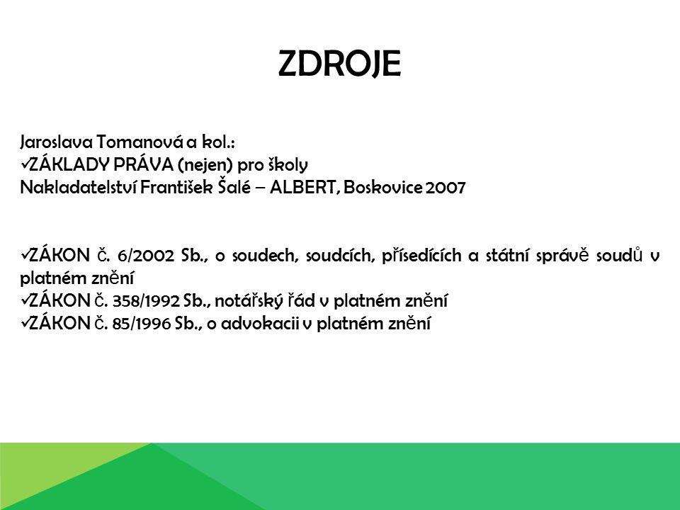 ZDROJE Jaroslava Tomanová a kol.: ZÁKLADY PRÁVA (nejen) pro školy