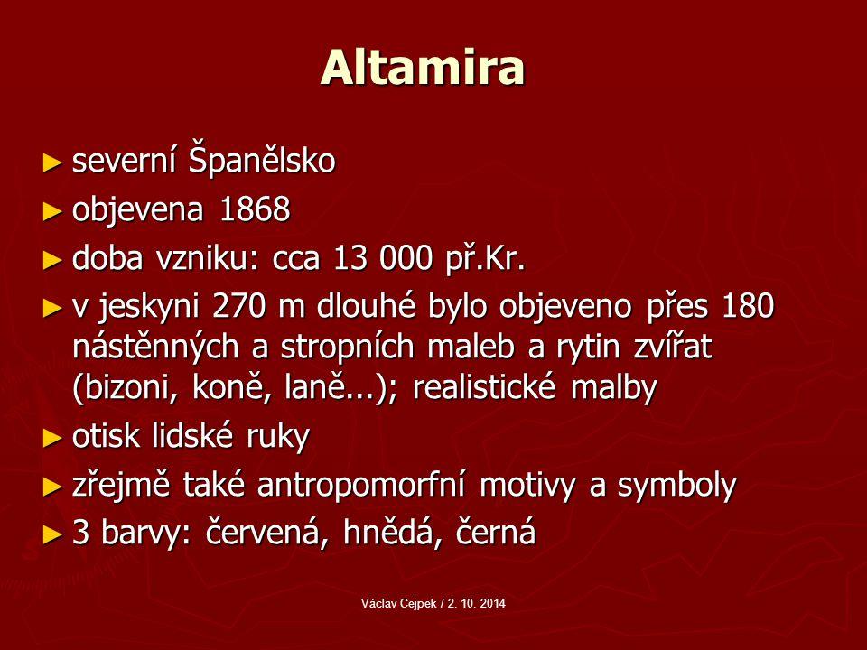 Altamira severní Španělsko objevena 1868