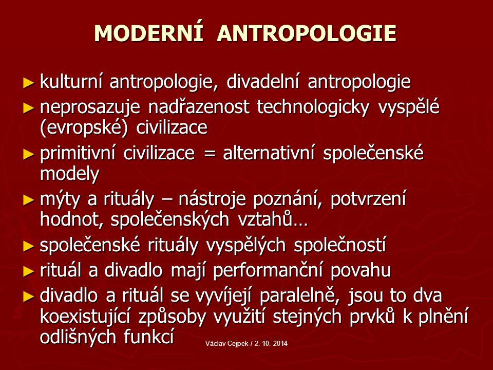 MODERNÍ ANTROPOLOGIE kulturní antropologie, divadelní antropologie