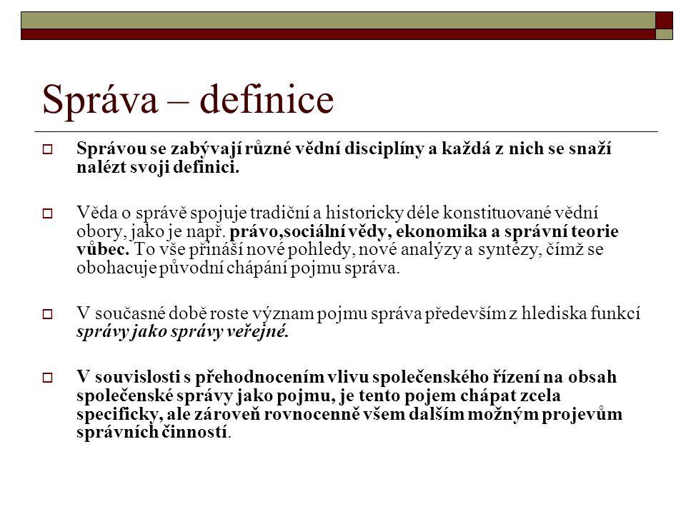 Správa – definice Správou se zabývají různé vědní disciplíny a každá z nich se snaží nalézt svoji definici.