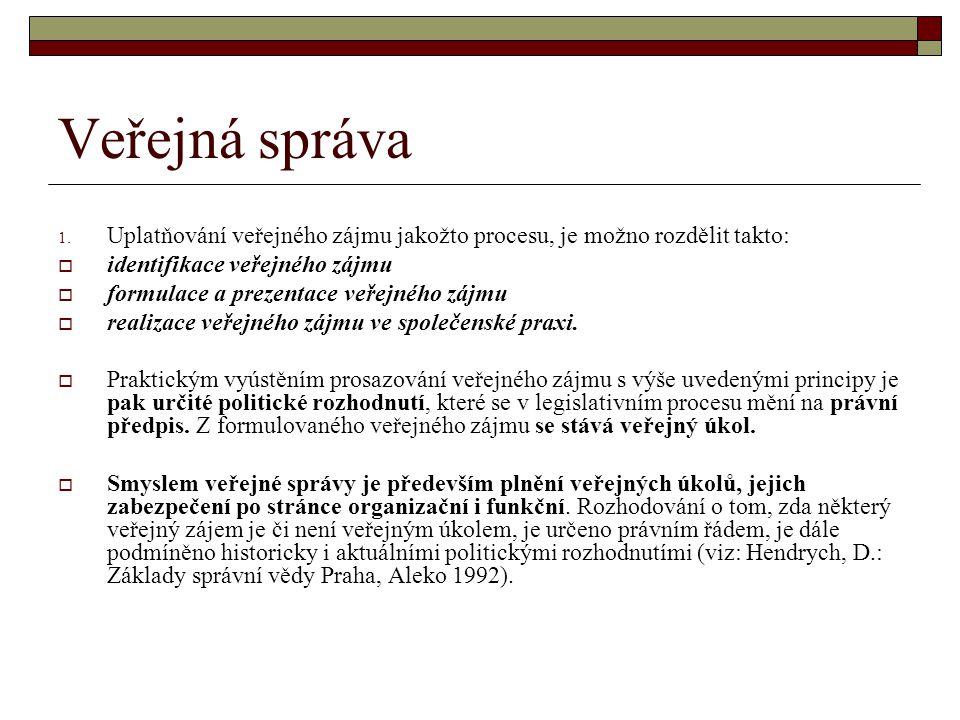 Veřejná správa Uplatňování veřejného zájmu jakožto procesu, je možno rozdělit takto: identifikace veřejného zájmu.