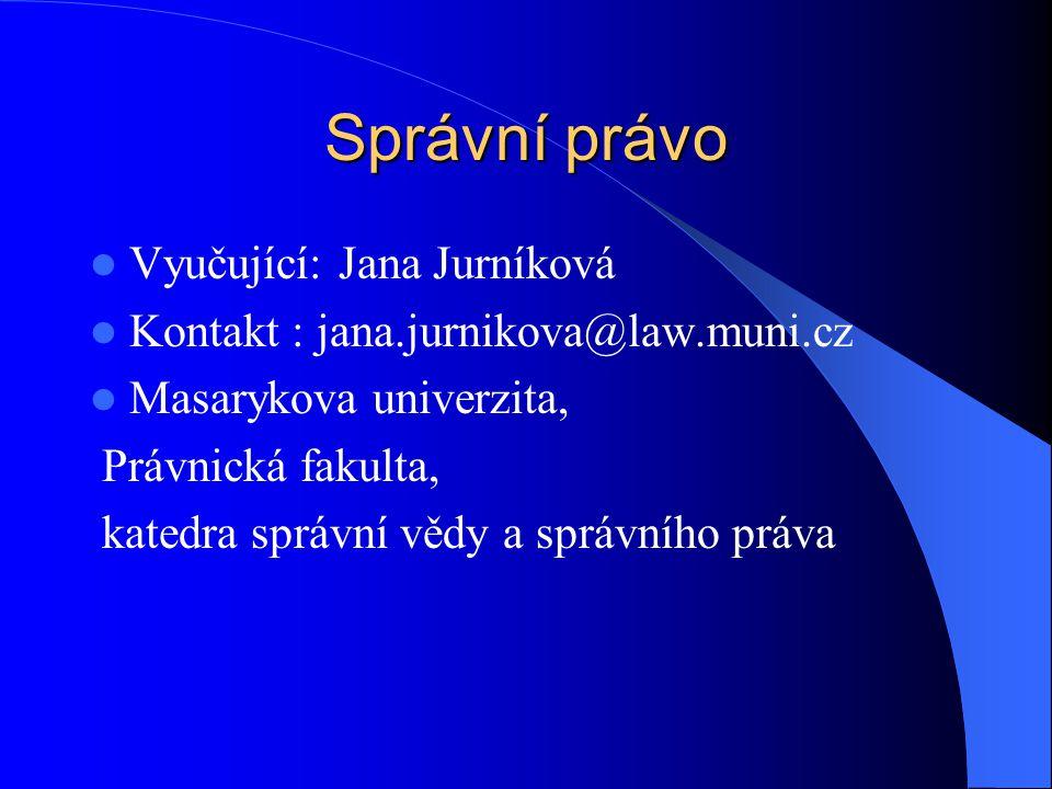 Správní právo Vyučující: Jana Jurníková