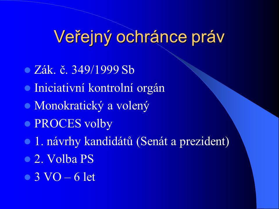 Veřejný ochránce práv Zák. č. 349/1999 Sb Iniciativní kontrolní orgán