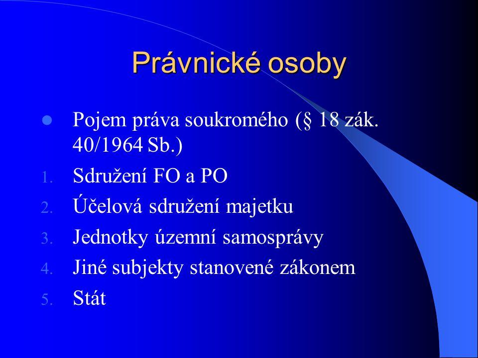 Právnické osoby Pojem práva soukromého (§ 18 zák. 40/1964 Sb.)
