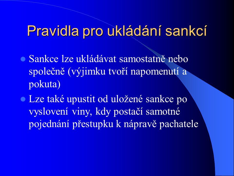 Pravidla pro ukládání sankcí