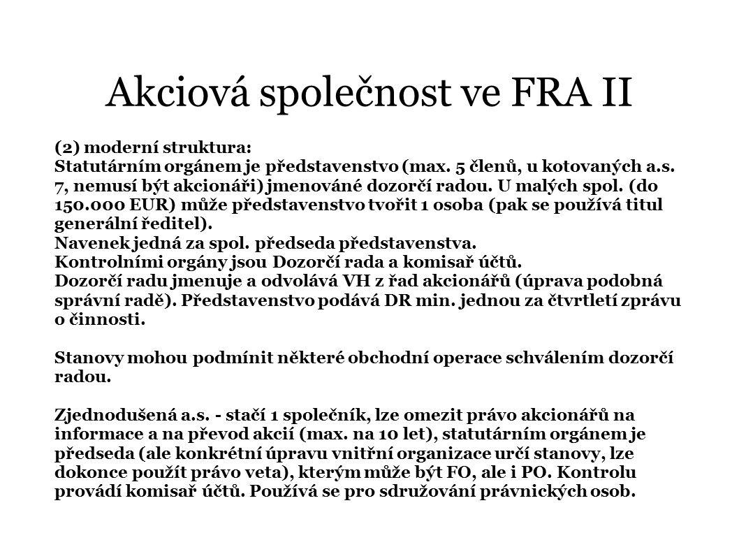 Akciová společnost ve FRA II