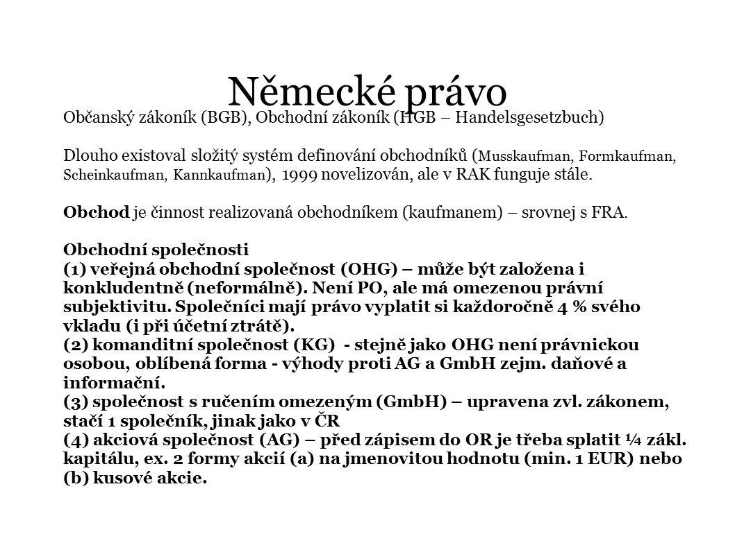 Německé právo Občanský zákoník (BGB), Obchodní zákoník (HGB – Handelsgesetzbuch)