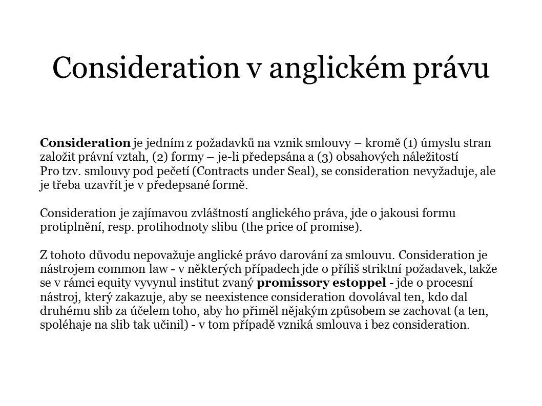 Consideration v anglickém právu