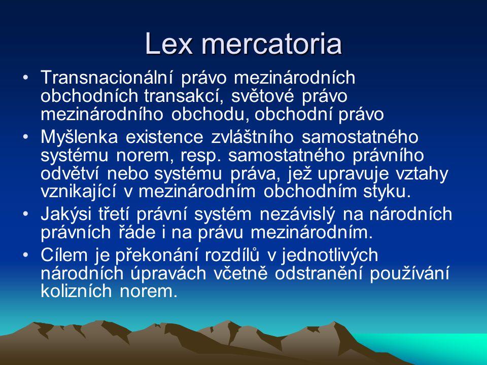 Lex mercatoria Transnacionální právo mezinárodních obchodních transakcí, světové právo mezinárodního obchodu, obchodní právo.