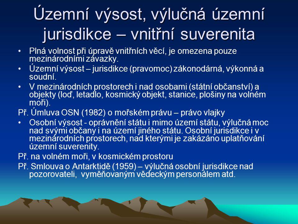 Územní výsost, výlučná územní jurisdikce – vnitřní suverenita