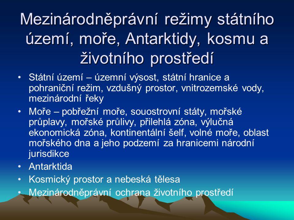 Mezinárodněprávní režimy státního území, moře, Antarktidy, kosmu a životního prostředí