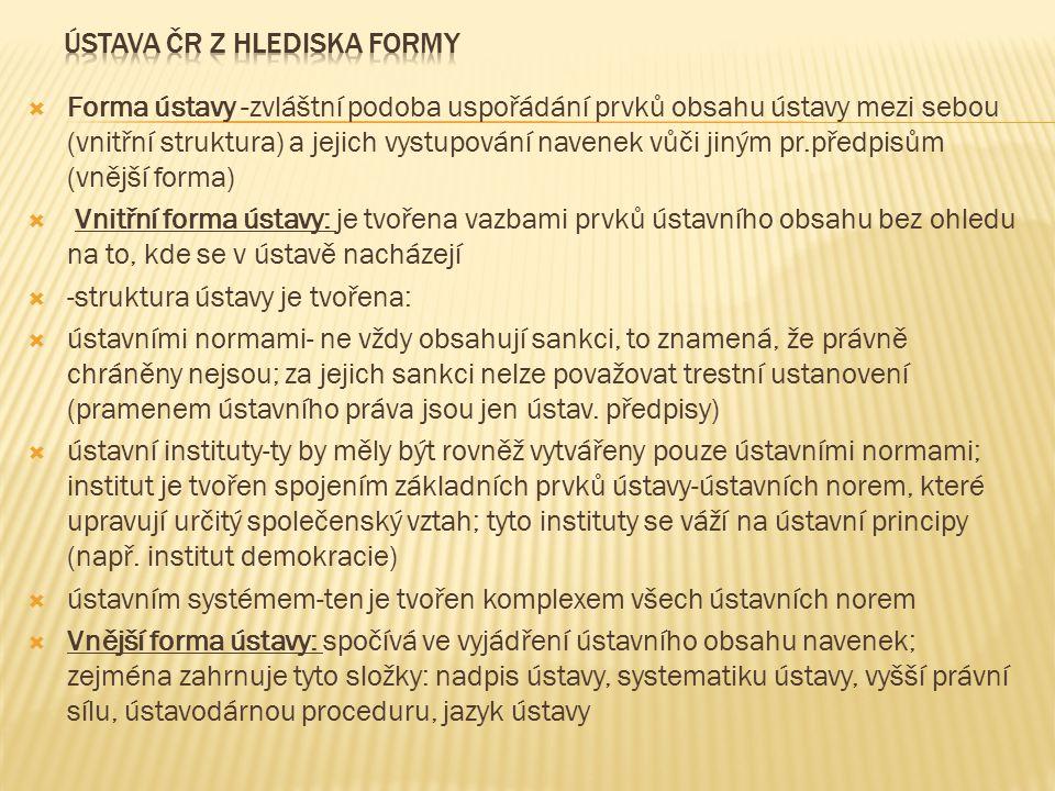 ÚSTAVA ČR Z HLEDISKA FORMY