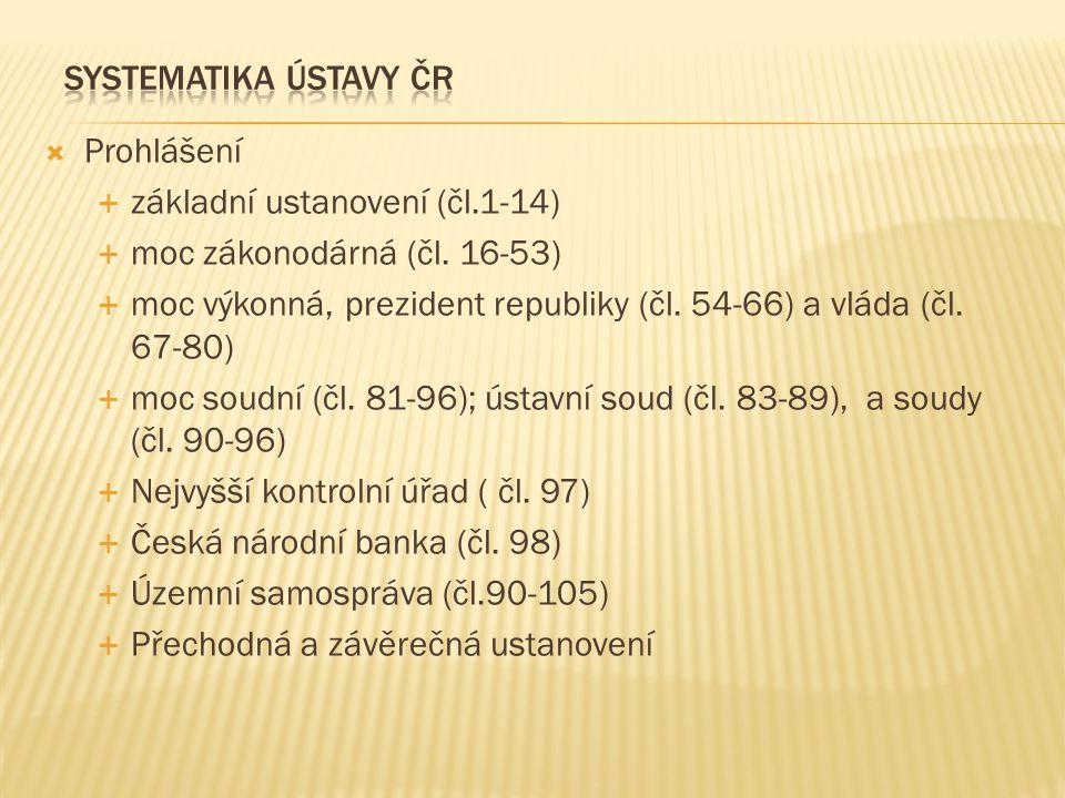 systematika ústavy ČR Prohlášení. základní ustanovení (čl.1-14) moc zákonodárná (čl. 16-53)