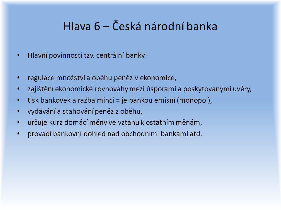 Hlava 6 – Česká národní banka