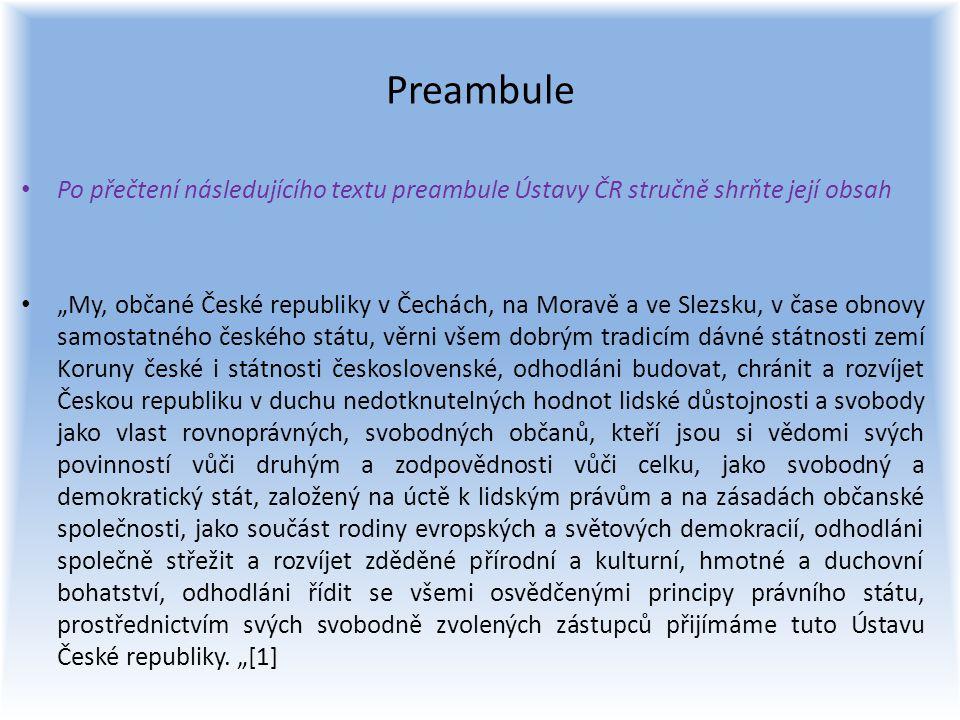 Preambule Po přečtení následujícího textu preambule Ústavy ČR stručně shrňte její obsah.