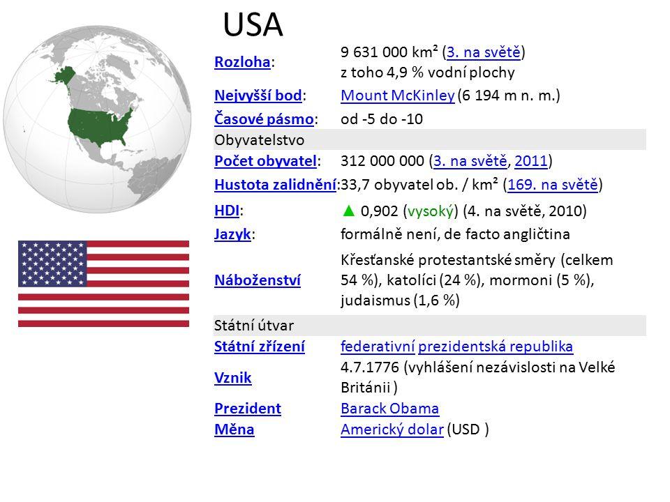 USA Rozloha: 9 631 000 km² (3. na světě) z toho 4,9 % vodní plochy