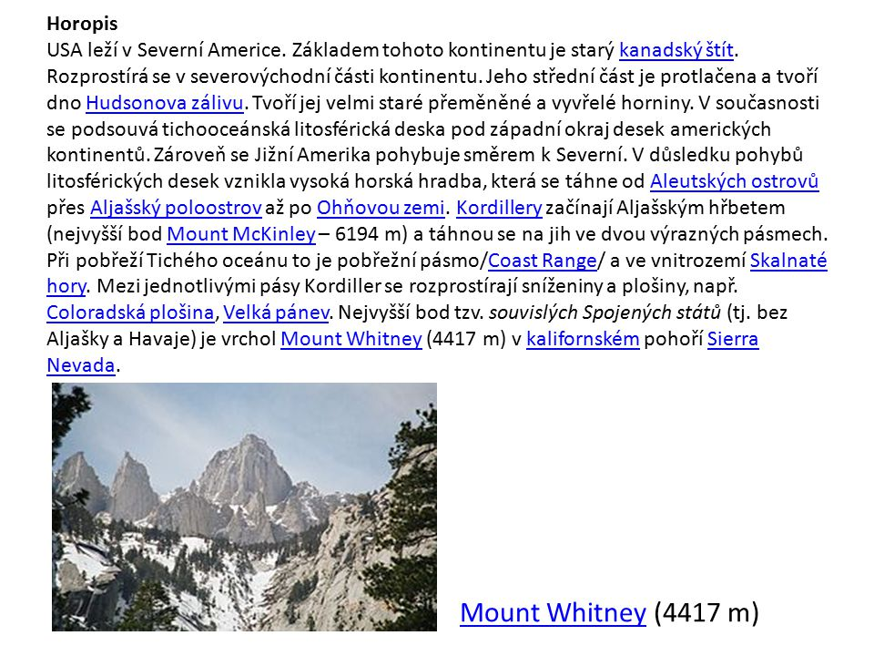 Mount Whitney (4417 m) Horopis