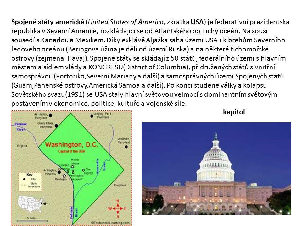 Spojené státy americké (United States of America, zkratka USA) je federativní prezidentská republika v Severní Americe, rozkládající se od Atlantského po Tichý oceán. Na souši sousedí s Kanadou a Mexikem. Díky exklávě Aljaška sahá území USA i k břehům Severního ledového oceánu (Beringova úžina je dělí od území Ruska) a na některé tichomořské ostrovy (zejména Havaj). Spojené státy se skládají z 50 států, federálního území s hlavním městem a sídlem vlády a KONGRESU(District of Columbia), přidružených států s vnitřní samosprávou (Portoriko,Severní Mariany a další) a samosprávných území Spojených států (Guam,Panenské ostrovy,Americká Samoa a další). Po konci studené války a kolapsu Sovětského svazu(1991) se USA staly hlavní světovou velmocí s dominantním světovým postavením v ekonomice, politice, kultuře a vojenské síle.