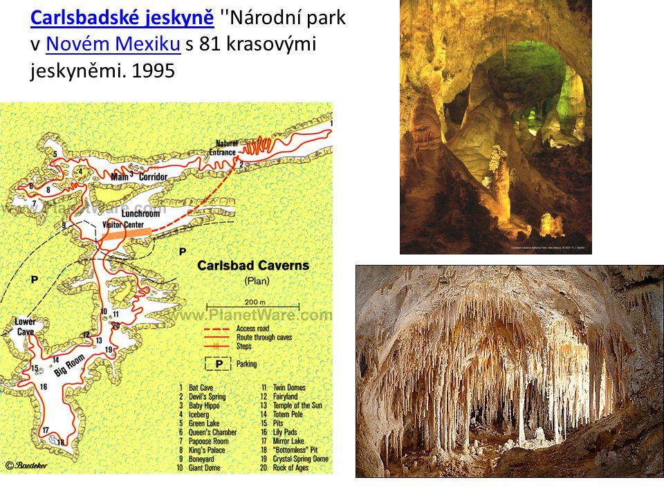 Carlsbadské jeskyně Národní park v Novém Mexiku s 81 krasovými jeskyněmi. 1995