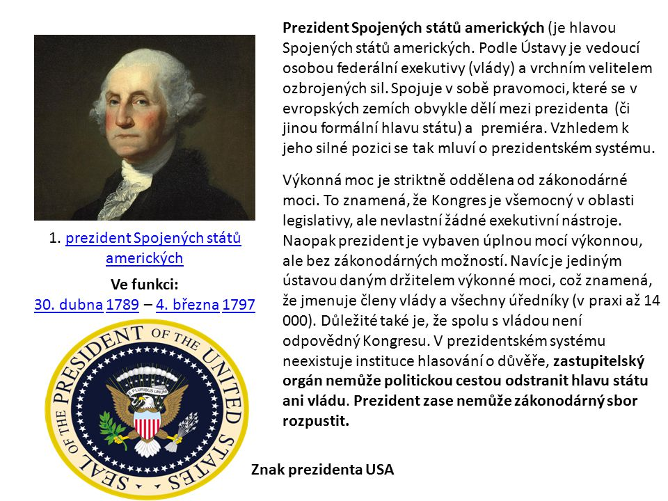 1. prezident Spojených států amerických
