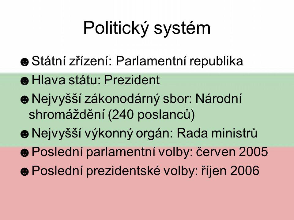 Politický systém Státní zřízení: Parlamentní republika
