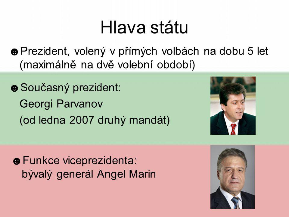 Hlava státu Prezident, volený v přímých volbách na dobu 5 let (maximálně na dvě volební období) Současný prezident:
