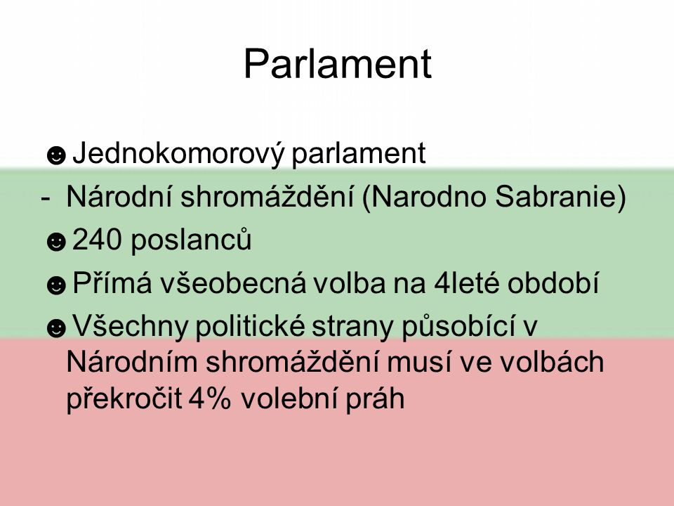 Parlament Jednokomorový parlament