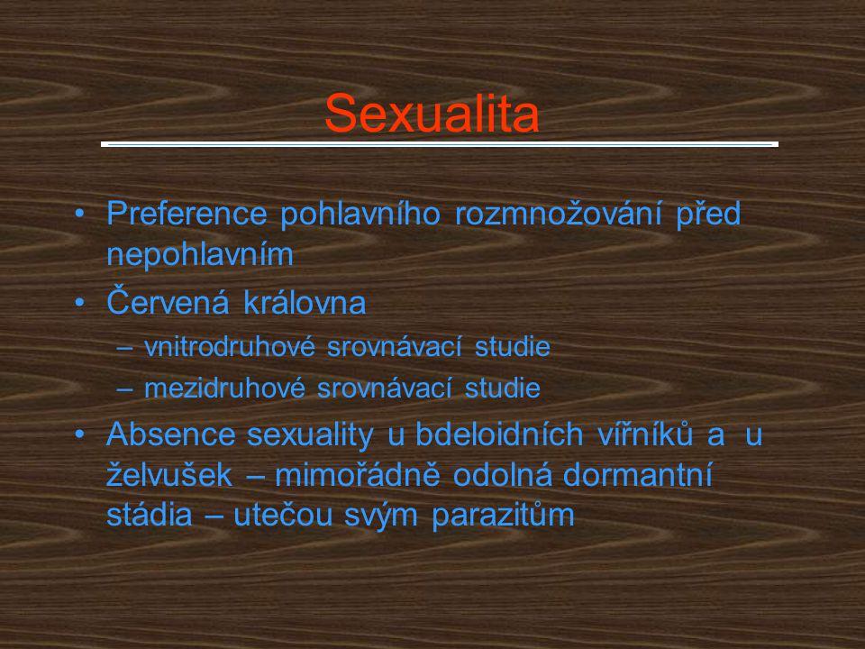 Sexualita Preference pohlavního rozmnožování před nepohlavním