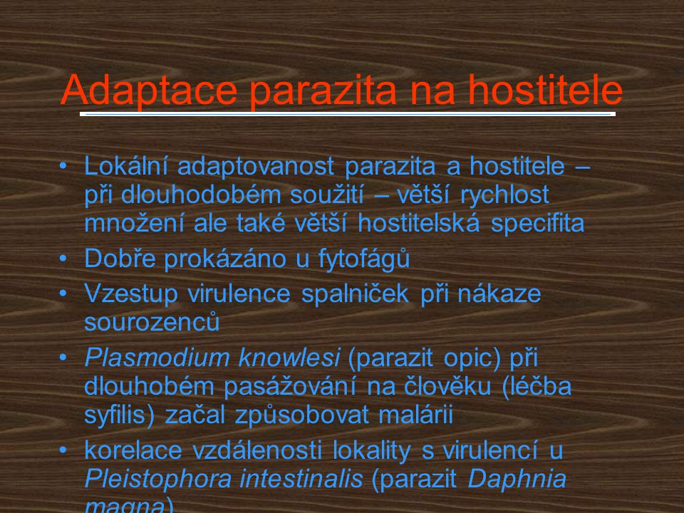 Adaptace parazita na hostitele