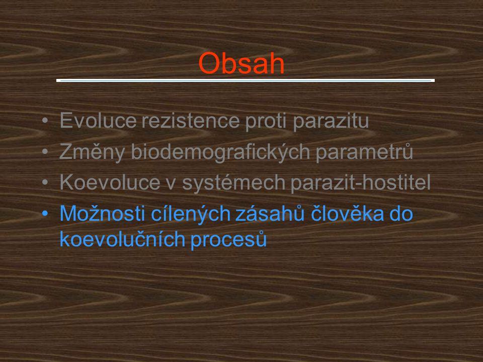 Obsah Evoluce rezistence proti parazitu