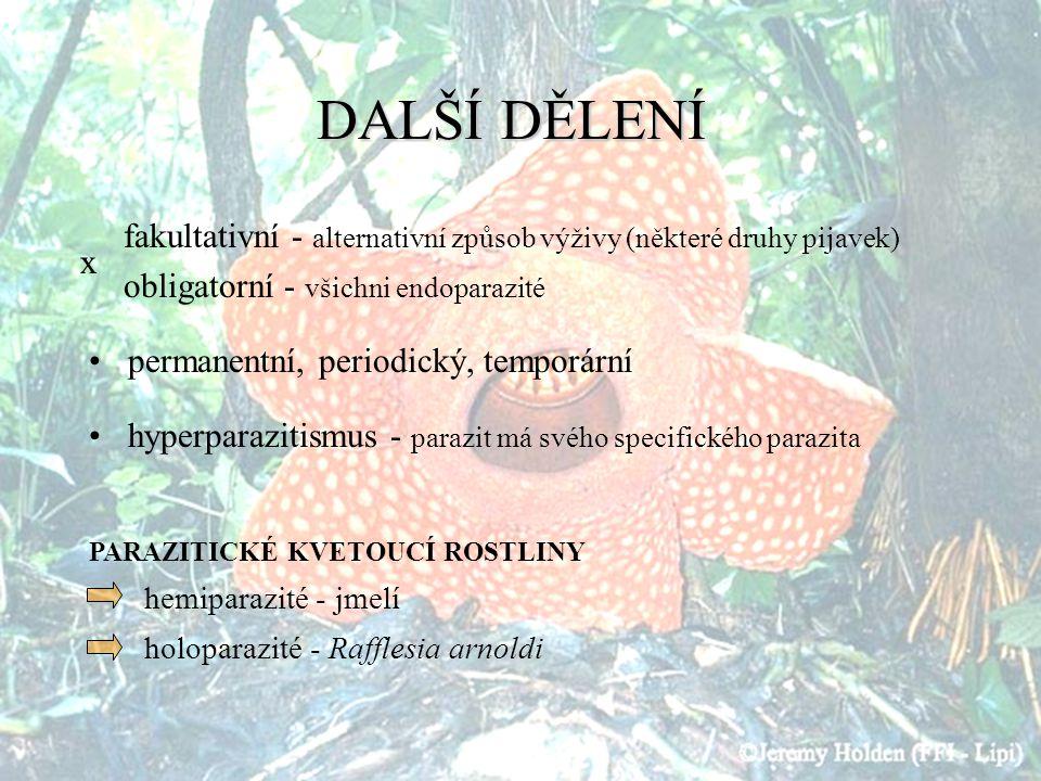 DALŠÍ DĚLENÍ fakultativní - alternativní způsob výživy (některé druhy pijavek) obligatorní - všichni endoparazité.