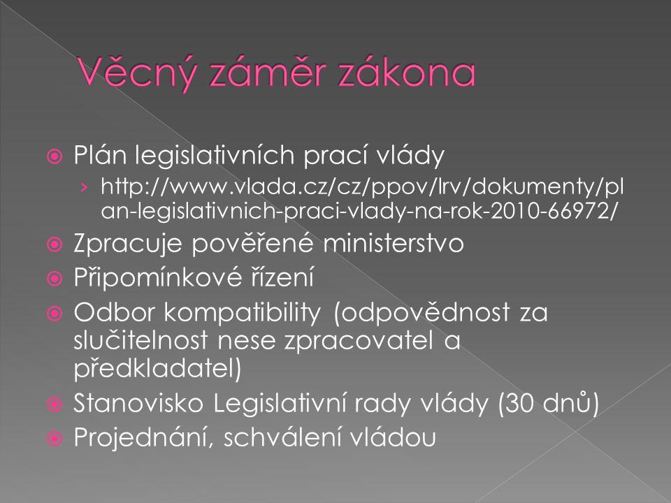 Věcný záměr zákona Plán legislativních prací vlády